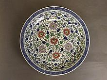 A large Chinese blue and white porcelain charger w