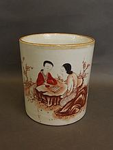 A large Chinese cylindrical porcelain brushpot wit