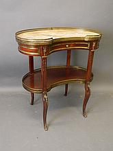 A C19th French mahogany kidney shaped two tier sid