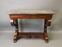 A C19th French figured mahogany single drawer cons
