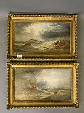 W.H. Williamson, pair of oils on canvas, shipwreck