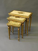 A nest of three Italian giltwood and gesso occasio