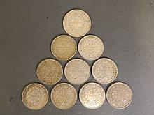 A quantity of French coins to include ten francs f