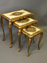 A nest of three occasional tables with incised pai