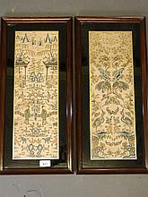 A pair of C19th Chinese finely stitched embroidere
