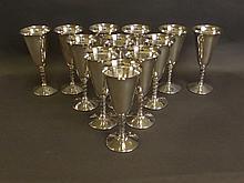 A set of twelve Spanish silver plated goblets with