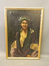 An oil on canvas, Gypsy woman in a bonnet, indisti