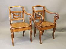 A pair of Ottoman walnut elbow chairs with pierced