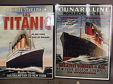 Two metal advertising signs for Cunard Line, 'Monarchs of the Sea' and 'White Star Line Titanic', 16