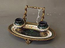 A C19th Bilston enamel desk stand with gilt brass mounts and fine painted f