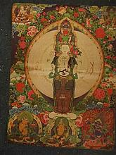 An Oriental thangka depicting Quan Yin surrounded by flowers and deities, 35