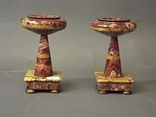 A pair of Continental rouge marble and brass mounted urns, early C20th, 9