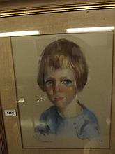 Pastel portrait of a young child, monogrammed RV(?), c1960, 12'' x 14''