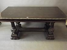 An Italian refectory table with turned and carved baluster shaped supports