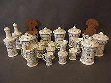 Twenty German Munsterschultz pottery blue and white kitchen storage jars an
