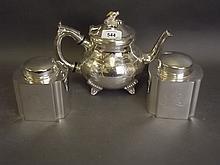 A Fortnum & Mason silver plated teapot, and a pair of tea caddies, teapot 6