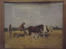 T. Austen Brown, watercolour, cornfield with a horse drawn thresher, signed