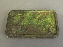 A Chinese rectangular green hardstone ink wash
