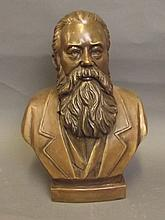 A large bronze bust of a bearded man entitled