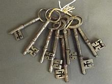 Eight large late 19th Century/early C20th keys,