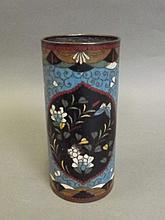 An early Chinese cloisonné brush pot with floral