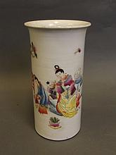 A Chinese flared rim brush pot with painted