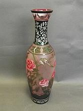 A large Peking glass vase with raised floral and