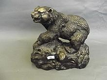 A fine large bronze model of a grizzly bear, after