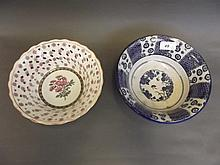 A 19th Century Japanese blue and white bowl, and a