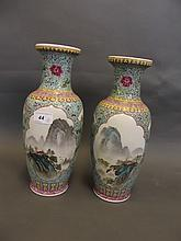 A pair of Chinese Republic pottery vases painted
