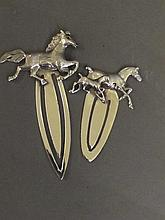 Two 925 silver bookmarks decorated with horses, 3