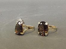Two 9ct gold smoky topaz and diamond rings, size S
