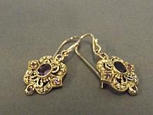 A pair of 9ct gold amethyst and pearl drop