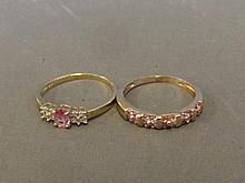 Two 9ct gold pink sapphire and diamond dress