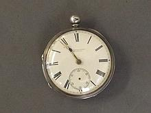 A silver pocket watch made by Shortsinger,