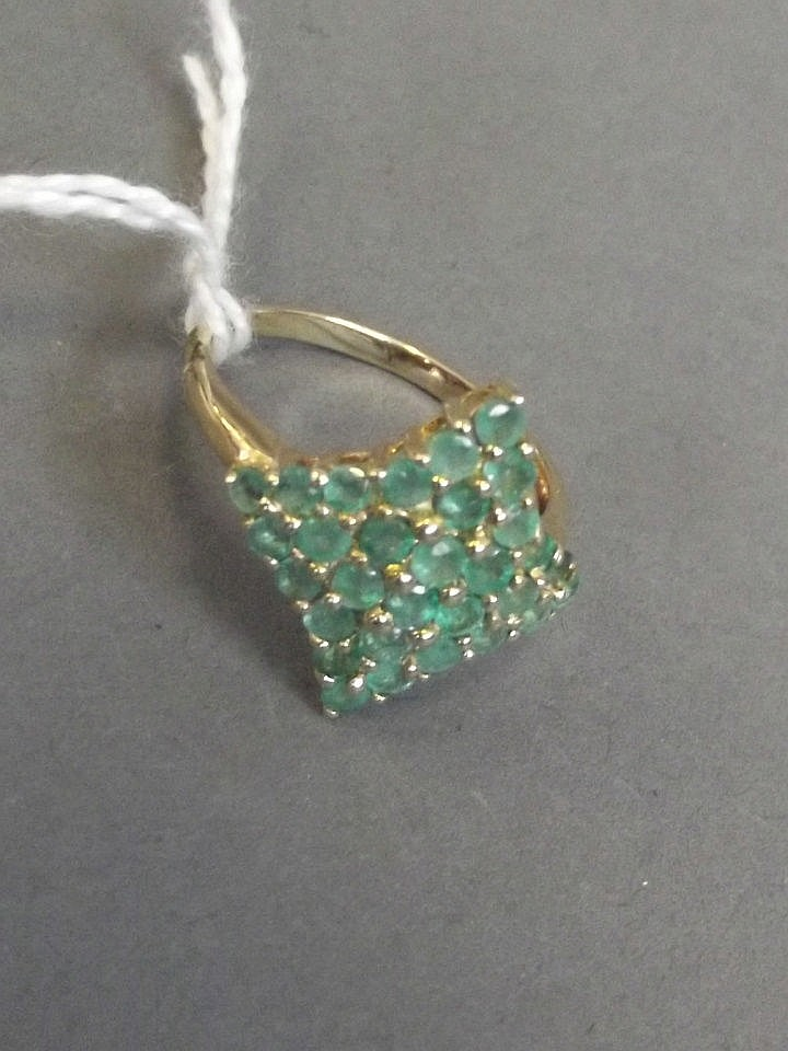 A 9ct gold, large emerald set ring
