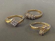 Three 9ct gold diamond set dress rings, all size O