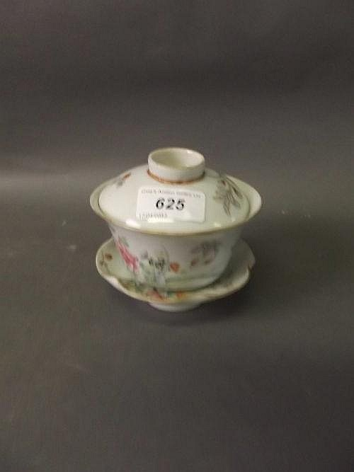 A Chinese Republic period famille rose tea bowl,