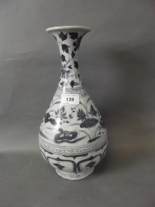 A good early Chinese blue and white pottery vase
