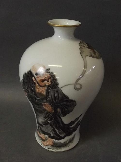 A Chinese baluster shaped vase with enamel