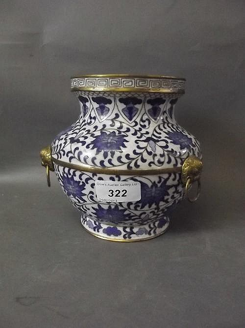 A Chinese blue and white cloisonne vase with 3