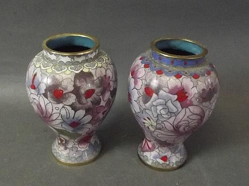 A pair of Chinese cloisonne vases with flower