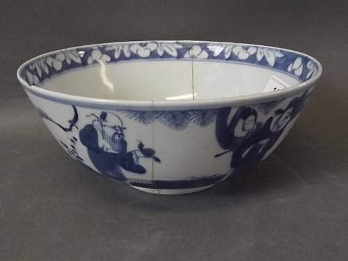 An antique Chinese blue and white pottery bowl