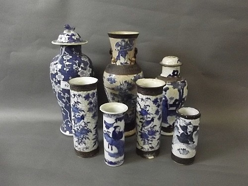 Six C19th Chinese blue and white pottery vases,