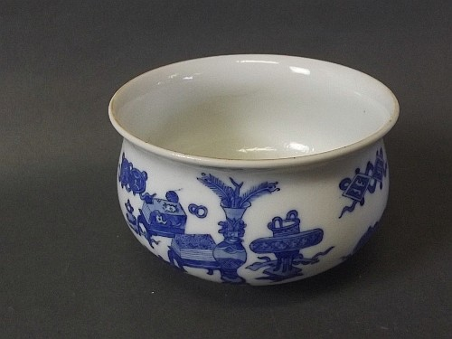 A Chinese blue and white bowl with painted
