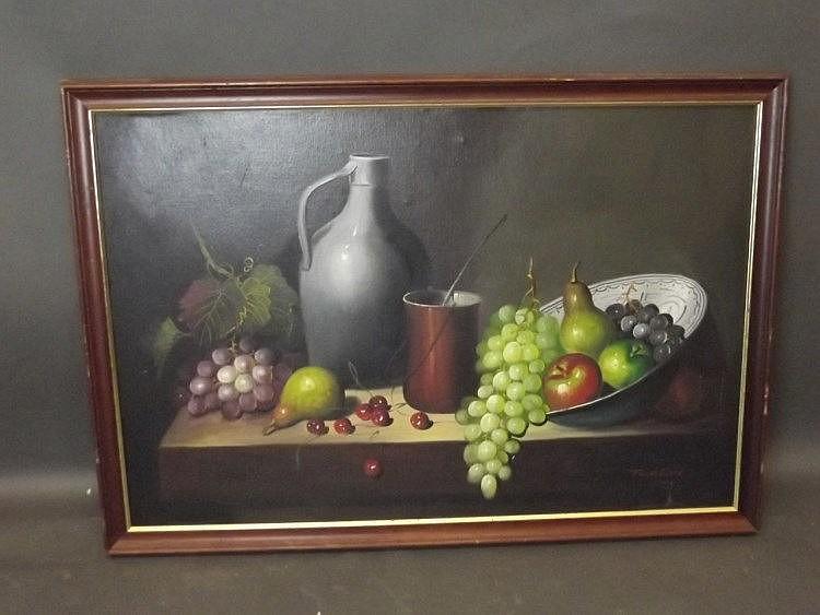 Frank Lean, oil on canvas laid on board, still