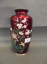 A good quality early C20th Japanese red ground cloisonné vase with floral decoration, marked 'Japan, Sato', 8½