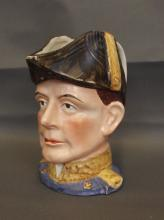A Staffordshire jug in the form of a naval officer, possibly Lord Nelson, damage to epaulet, circa 1870, 7