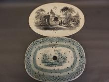 Two C19th and one English porcelain transfer printed strainers, one depicting an Oriental landscape with pagodas, the other figures in a garden, 14