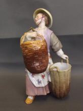 A late C19th Continental porcelain figure of an Oriental girl holding baskets, 8
